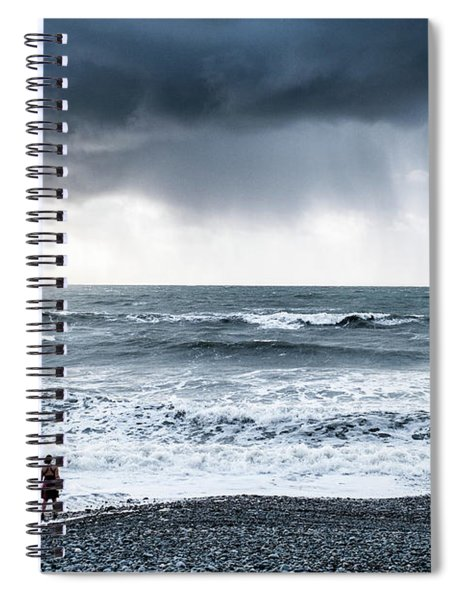 A Woman In The Sea On A Stormy Day  Spiral Notebook