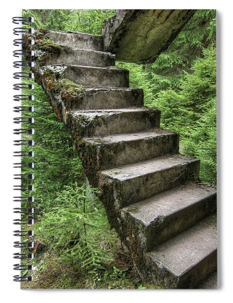 Abandoned Rest Of The Concrete Staircase In The Woods Spiral Notebook