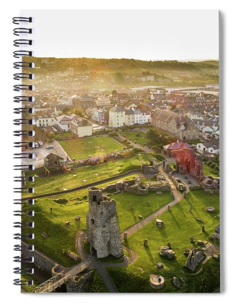 Aberystwyth Castle From The Air At Dawn Spiral Notebook