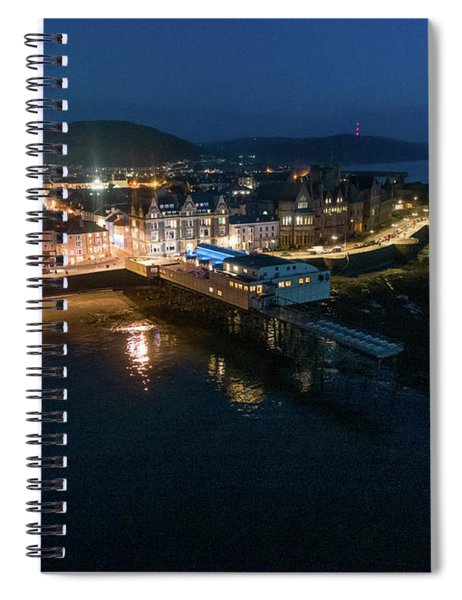 Aberystwyth Wales At Night From The Air Spiral Notebook