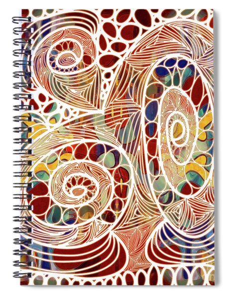 Abstract Bold Colors And Joyful Circles Digital Mixed Media By Omaste Witkowski Spiral Notebook