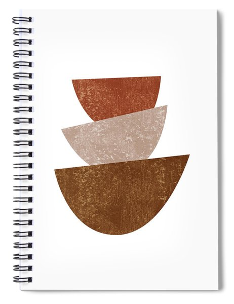 Abstract Bowls 2 - Terracotta Abstract - Modern, Minimal, Contemporary Print - Brown, Beige Spiral Notebook
