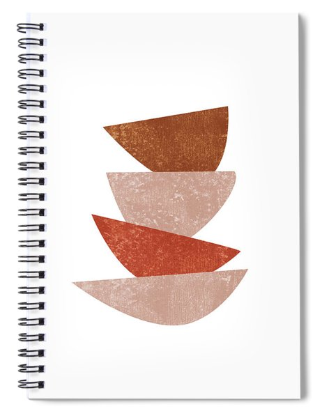 Abstract Bowls 3 - Terracotta Abstract - Modern, Minimal, Contemporary Print - Brown, Beige Spiral Notebook