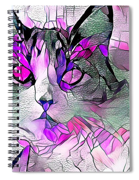 Abstract Calico Cat Purple Glass Spiral Notebook