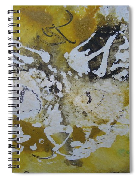 Abstract Cat Face Yellows And Browns Spiral Notebook by AJ Brown