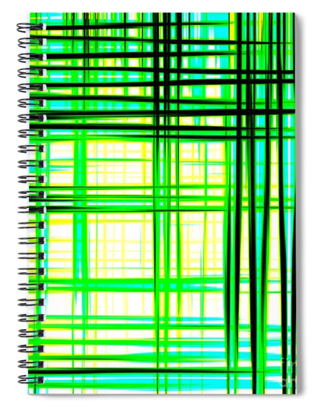 Abstract Design With Lines Squares In Green Color Waves - Pl409 Spiral Notebook