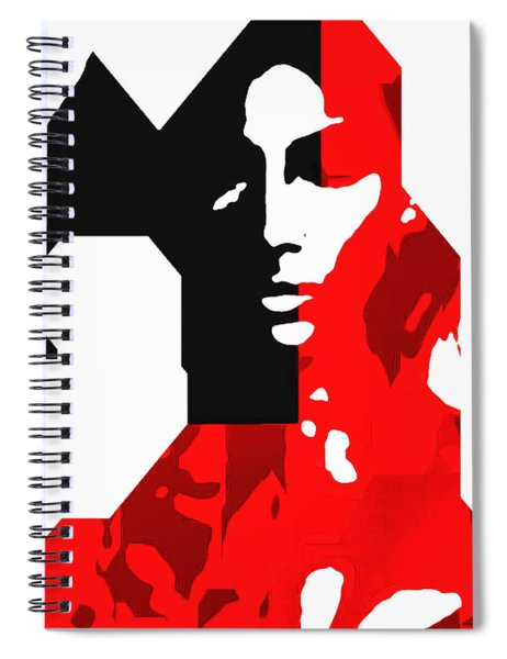 Abstract Facial In Black And Red Spiral Notebook by Mario Carini