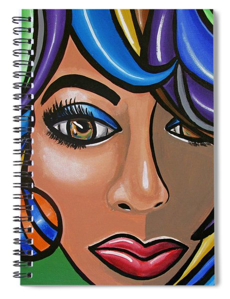 Abstract Woman Artwork Abstract Female Painting Colorful Hair Salon Art - Ai P. Nilson Spiral Notebook