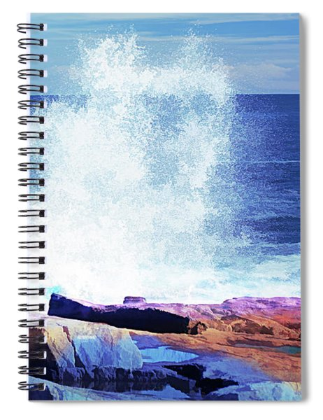 Crashing Waves At Schoodic Point Abstract Spiral Notebook