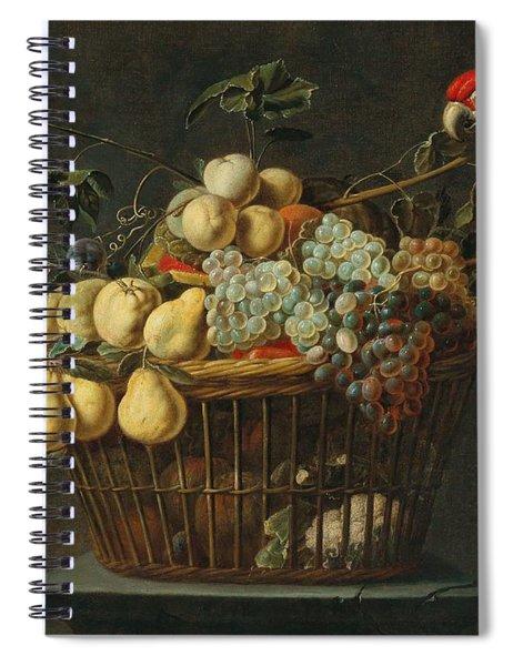 Adriaen Van Utrecht Antwerp 1599-1653 Still Life Of A Basket Of Fruit With A Parrot Spiral Notebook