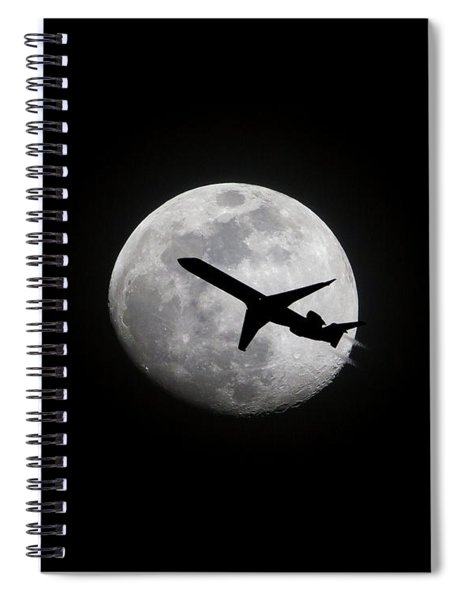 Airliner Passing In Front Of A Full Moon Spiral Notebook