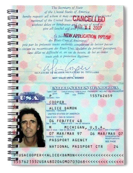 Alice Cooper Passport 1997 Spiral Notebook