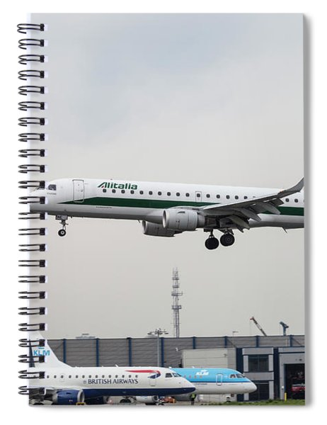Alitalia Embraer 190 Bird Near Miss Spiral Notebook