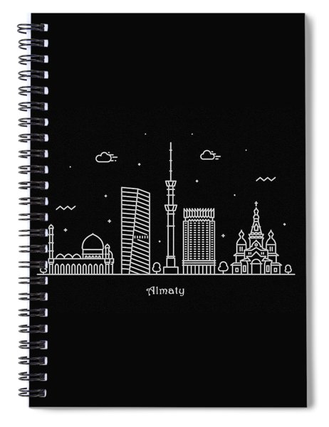 Almaty Skyline Travel Poster Spiral Notebook