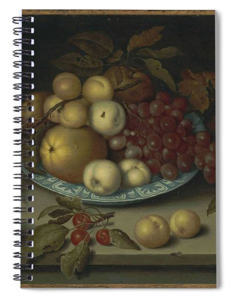 Ambrosius Bosschaert I Antwerp 1573-1621 The Hague Peaches, Apples, Apricots And Grapes In A Wan L Spiral Notebook