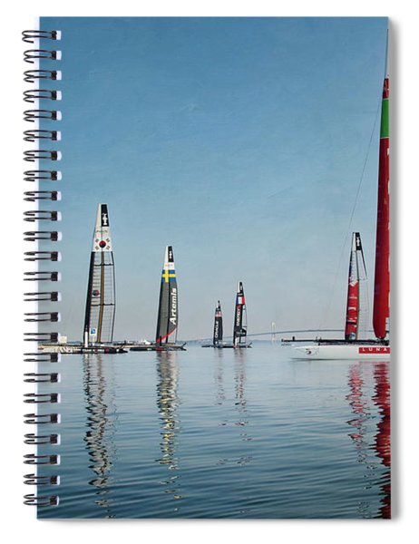 America Cup Boat Reflections Spiral Notebook