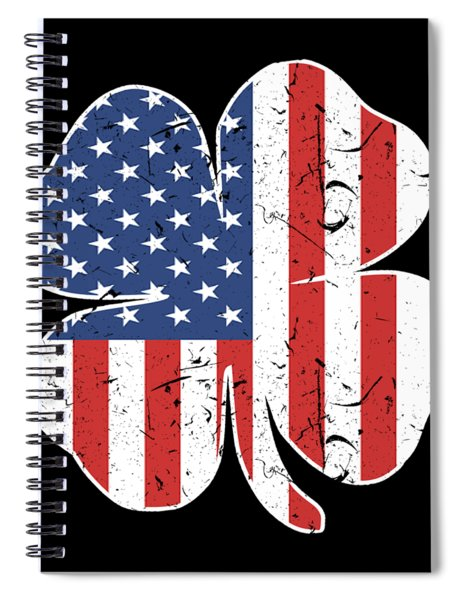 American Irish Grunt Style Usa Men_s Patriotic St Patrick_s Day Clover Patriotic Spiral Notebook