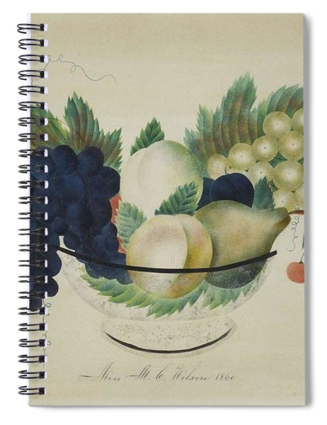 American School, 19th Century Theorem Painting Of Fruit In A Glass Bowl Spiral Notebook