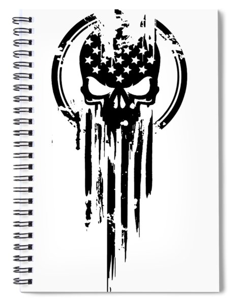 American Warrior Flag Skull Military Army Veteran Spiral Notebook
