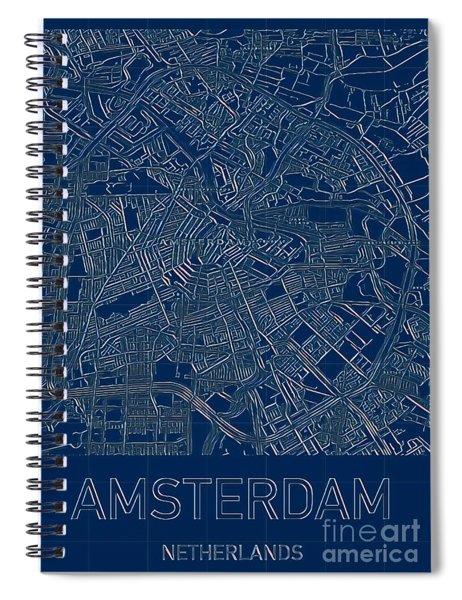 Amsterdam Blueprint City Map Spiral Notebook