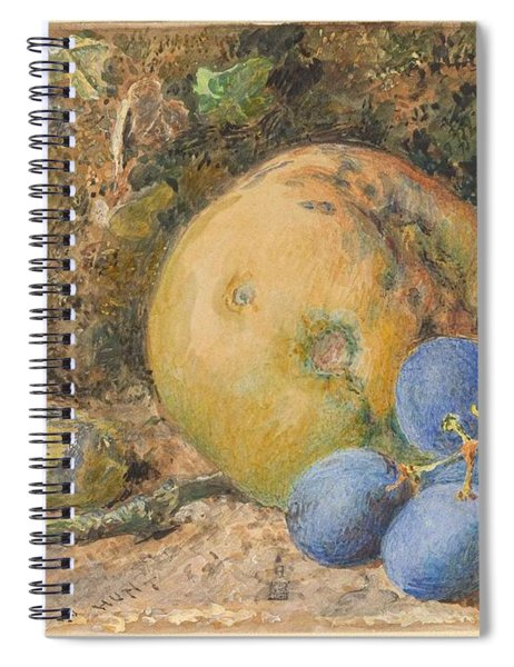 An Apple, Grapes And A Hazelnut On A Mossy Bank  Wlliam Henry Hunt British, London 1790-1864 Londo Spiral Notebook