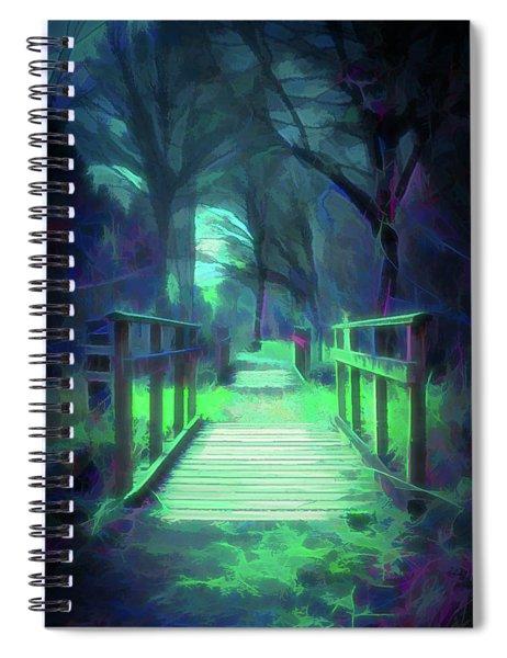 Another World - Wooden Bridge Spiral Notebook by Scott Lyons