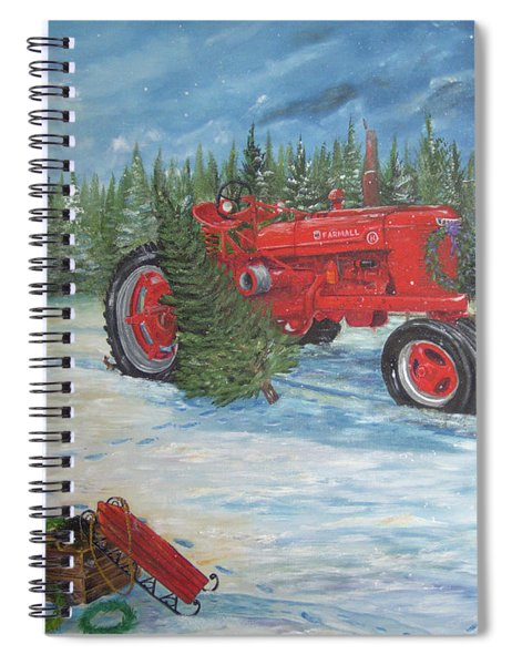 Antique Tractor At The Christmas Tree Farm Spiral Notebook