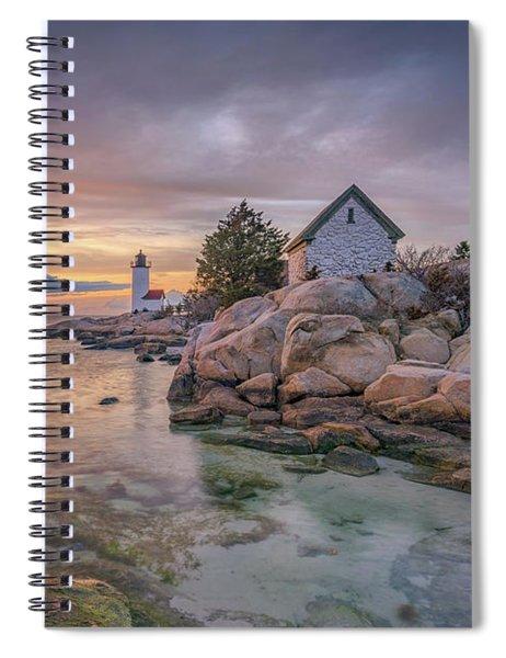 April Sunset At Annisquam Harbor Lighthouse Spiral Notebook