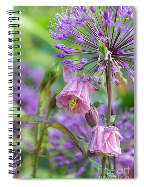 Aquilegia And Allium Flowers Spiral Notebook