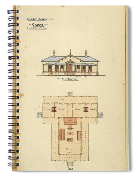 Architectural Drawing Of The Court House  Cairns Spiral Notebook