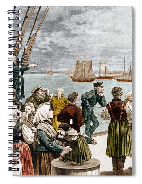 Arrival Of Emigrants In New York In 1887 In The Background, The Statue Of Liberty Spiral Notebook