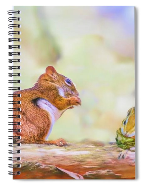 Art Composite Photograph Of A Chipmunk And Red Squirrel Sharing  Spiral Notebook