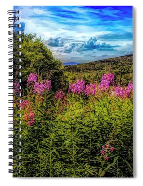 Art Photo Of Vermont Rolling Hills With Pink Flowers In The Fore Spiral Notebook