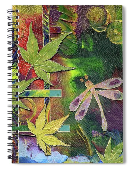 Spiral Notebook featuring the mixed media Dragonfly by Koka Filipovic