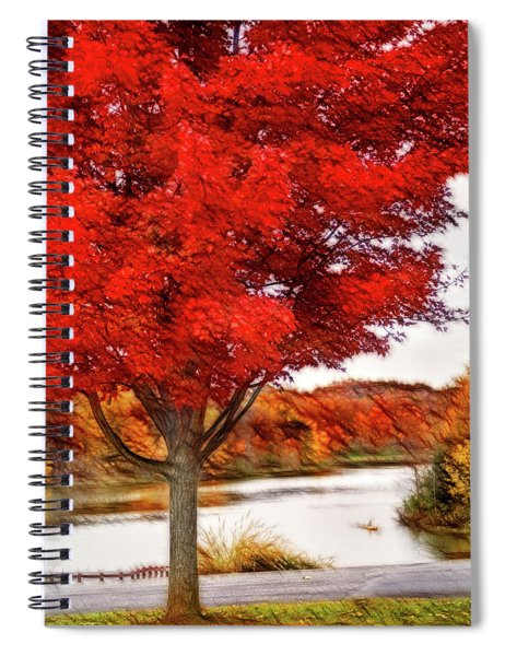 Artistic Fall Tree At Lake Spiral Notebook