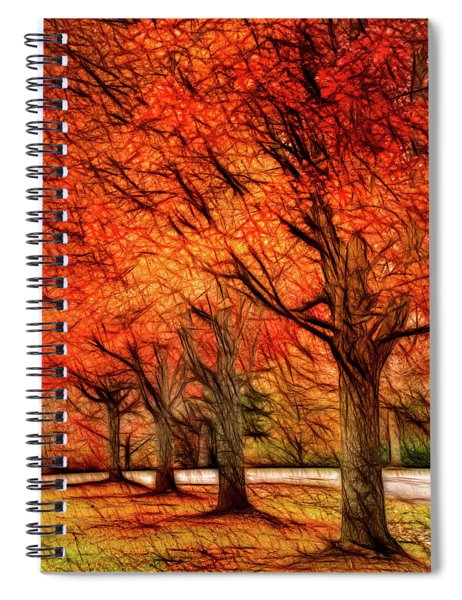 Artistic Four Fall Trees Spiral Notebook