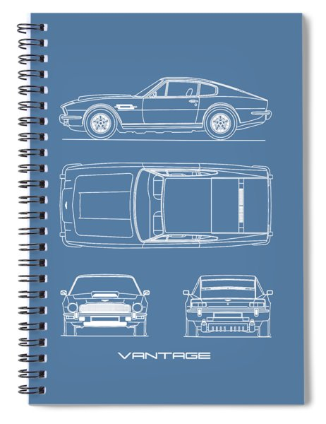 Aston Martin V8 Vantage Blueprint Spiral Notebook