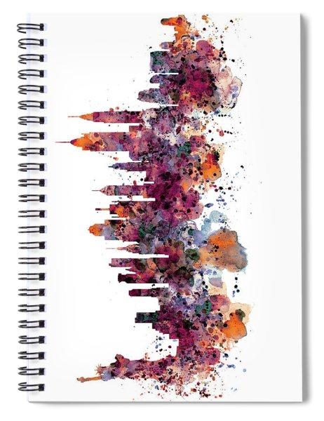 New York Skyline Watercolor Spiral Notebook