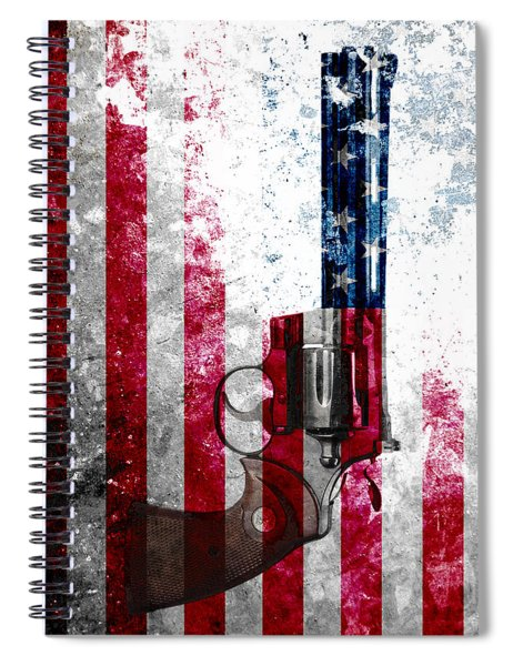 Colt Python 357 Mag On American Flag Spiral Notebook