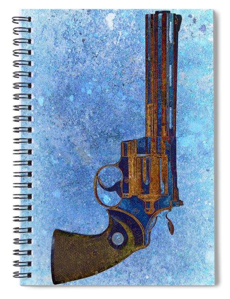 Colt Python 357 Mag On Blue Background. Spiral Notebook