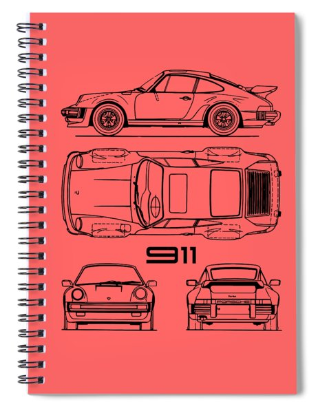 The 911 Turbo Blueprint Spiral Notebook