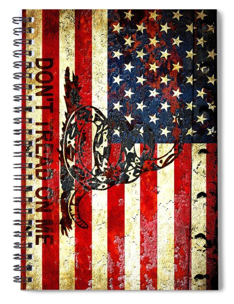American Flag And Viper On Rusted Metal Door - Don't Tread On Me Spiral Notebook