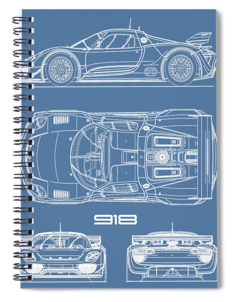 The 918 Spyder Blueprint Spiral Notebook