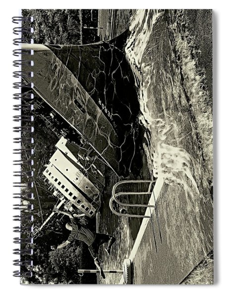 Sinking Into The Pool Black And White Spiral Notebook