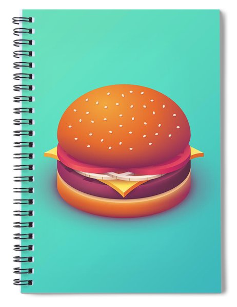 Burger Isometric - Plain Mint Spiral Notebook