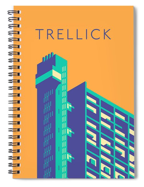 Trellick Tower London Brutalist Architecture - Text Apricot Spiral Notebook