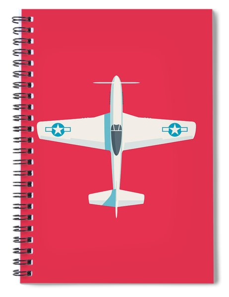 P51 Mustang Fighter Aircraft - Crimson Spiral Notebook