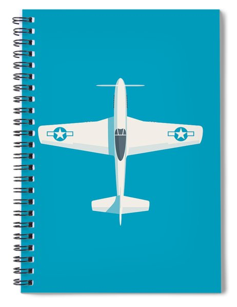 P51 Mustang Fighter Aircraft - Cyan Spiral Notebook