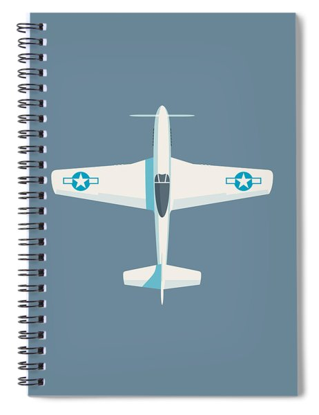 P51 Mustang Fighter Aircraft - Slate Spiral Notebook