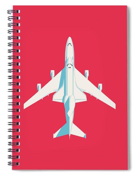 Space Shuttle And 747 Transport Jet - Crimson Spiral Notebook